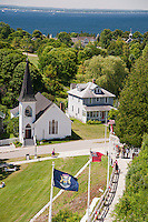 Village scene on Mackinac Island, Michigan.