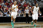 01 APRIL 2012:  Odyssey Sims (0) of Baylor University celebrates the Lady Bears' victory against Stanford University during the Division I Women's Final Four semifinals at the Pepsi Center in Denver, CO.  Baylor defeated Stanford 59-47 to advance to the championship final.  Jamie Schwaberow/NCAA Photos