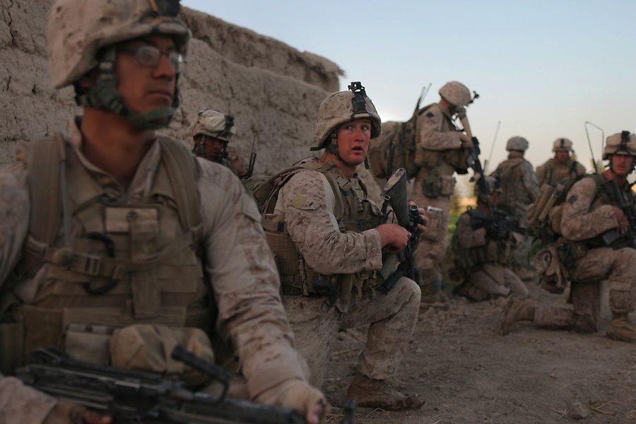 Marines from Alpha Co. 1st Battalion 5th Marines enter the Nawa District of Afghanistan's Helmand Province during Operation River Liberty which began on July 2, 2009.