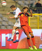 USA's Robbie Rogers (l) and Belgium's Axel Witsel fight for the ball during the friendly match Belgium vs USA at King Baudoin stadium in Brussels, Belgium on September 06th, 2011.