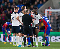 Referee Jon Moss talks to Tottenham Hotspur's Victor Wanyama to warn him after a foul      <br /> <br /> <br /> Photographer Craig Mercer/CameraSport<br /> <br /> The Premier League - Crystal Palace v Tottenham Hotspur - Wednesday 26th April 2017 - Selhurst Park - London<br /> <br /> World Copyright &copy; 2017 CameraSport. All rights reserved. 43 Linden Ave. Countesthorpe. Leicester. England. LE8 5PG - Tel: +44 (0) 116 277 4147 - admin@camerasport.com - www.camerasport.com