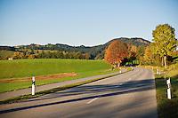 Small 2 lane rural road near forggensee in Allgäu region, Bavaria, Germany