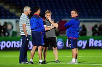 Bath Rugby and Pau coaches have a word during the pre-match warm-up. European Rugby Challenge Cup match, between Pau (Section Paloise) and Bath Rugby on October 15, 2016 at the Stade du Hameau in Pau, France. Photo by: Patrick Khachfe / Onside Images