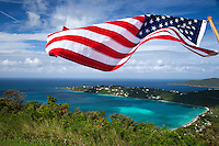 American flag over Magen's Bay<br />