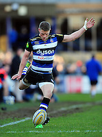 Rhys Priestland of Bath Rugby kicks for the posts. Aviva Premiership match, between Bath Rugby and London Irish on March 5, 2016 at the Recreation Ground in Bath, England. Photo by: Patrick Khachfe / Onside Images
