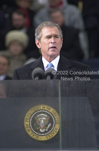 United States President George W. Bush delivers his Inaugural Address after taking the Oath of Office as the 43rd U.S. President at the Capitol in Washington, D.C. on January 20, 2001.Credit: David N. Berkowitz for Newsweek - Pool via CNP.