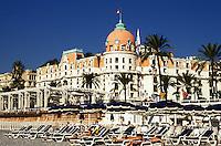 France. Nice. Negresco Hotel, Promenade des Anglais and beach..