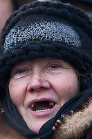 Moscow, Russia, 04/02/2012..A woman with a layer of ice on her hat shouts slogans as tens of thousands of demonstrators marched and protested against election fraud and Prime Minister Vladimir Putin in temperatures of -20 centigrade. Organisers claimed an attendance of 130,000 despite the bitter cold.