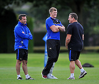 Stuart Hooepr of Bath Rugby has a laugh with Head Coach Mike Ford and First team coach Toby Booth. Bath Rugby training session on September 4, 2015 at Farleigh House in Bath, England. Photo by: Patrick Khachfe / Onside Images