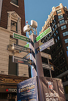 Wayfinding sign on Super Bowl Boulevard in Midtown Manhattan in New York on Thursday, January 30, 2014. Despite the game being held in New Jersey on February 2 sports fans are packing New York to take part in the multitude of activities planned around the game including the 13 block stretch of Broadway, running from 34th street through 47th street that will host Super Bowl Blvd. from January 29 to February 1. (© Richard B. Levine)