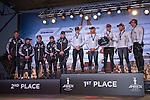 Emirates Team New Zealand second and winners of the Match Racing, Oracle Team USA 4 on the podium for the prize giving. Day four of the America's Cup World Series, San Francisco. 6/10/2012