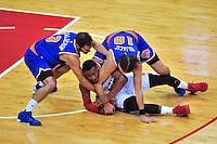 Wizards John Wall fights for the loose ball. New York defeated Washington 115-104 during a NBA preseason game at the Verizon Center in Washington, D.C. on Friday, October 9, 2015.  Alan P. Santos/DC Sports Box