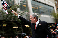 Mayor Bill de Blasio take part during the 2015 NYC Veterans Day Parade in New York 11.11.2015.The nation's largest Veterans Day Parade will be held today in New York City. Kent Betancur/VIEWpress.