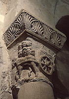 Detail of relief depicting a funeral with a ox towing a cart with a sarcophagus, capital, Crypt of Hilduin, 9th century, Abbey church of Saint Denis, Seine Saint Denis, France. Picture by Manuel Cohen