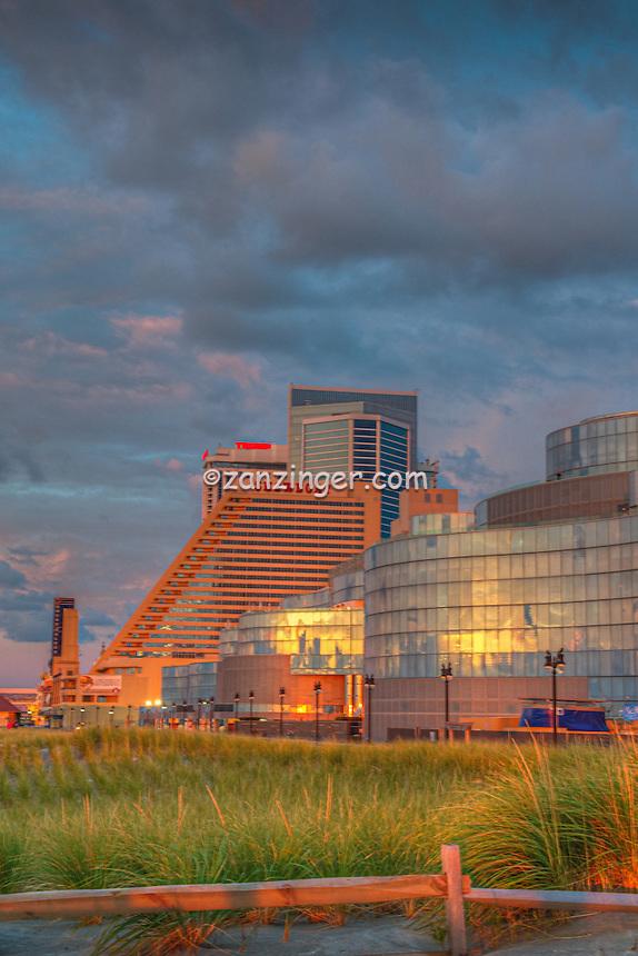 Atlantic City; Revel casino; hotel; resort; New Jersey; Sunrise reflecting on Glass; World-famous Boardwalk; Resort hotels; Architecture;