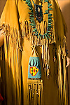 Close up of Native American Pow Wow Regalia, High Buck Northern Minnesota, smoke tanned Great Lakes Pattern with Crow and Lakota beading. These are examples of Native American ethnic pride