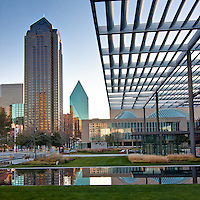 View of downtown Dallas, Texas from under the portico at the Winspear Opera House.