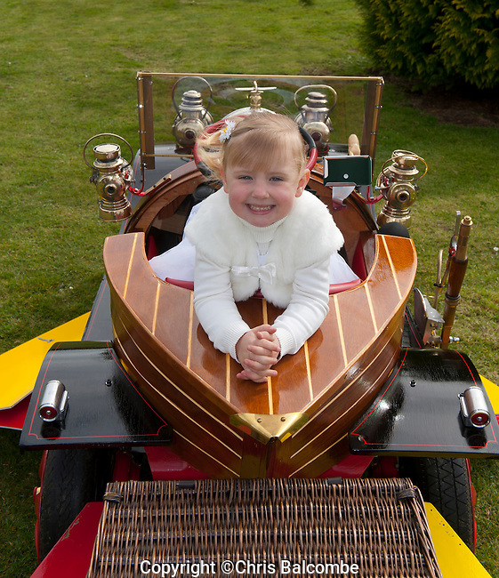 Mini Chitty Bang Fan! Three-year-old Indiya Tasker drives a miniature Chitty Chitty Bang Bang car - a special birthday present built by her grandparents.<br /> Nick Pointing spent hundreds of hours creating the magical car, with the help of wife Carolyn..It's based on the world-famous vehicle driven by Dick Van Dyke in the blockbuster movie of 1968. <br /> <br /> Pic: Chris Balcombe<br /> 07568 098176