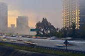 Stock photo of Orange County California freeway through Irvine at morning light