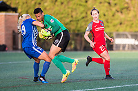 Boston, MA - Friday May 19, 2017: Adriana Leon and Adrianna Franch during a regular season National Women's Soccer League (NWSL) match between the Boston Breakers and the Portland Thorns FC at Jordan Field.