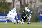 DURHAM, NC - MARCH 11: Loyola's Graham Savio (right) wins a draw against Duke's Kyle Rowe (5). The Duke University Blue Devils hosted the Loyola University Maryland Greyhounds on March 11, 2017, at Koskinen Stadium in Durham, NC in a Division I College Men's Lacrosse match. Duke won the game 15-7.