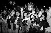 Roma 1 Maggio 1993  .Concerto del Primo Maggio a Piazza San Giovanni  .Fans in delirio per il cantante Ligabue.Rome May 1 st 1993  .The Primo's Maggio concert to Plaza St. Giovanni  .Fans in delirium for the singer Ligabue