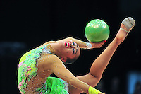 Aliya Garaeva of Azerbaijan performs at 2011 World Cup at Portimao, Portugal on April 29, 2011.  .