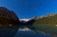 Lake Louise, Banff, Alberta by moonlight.