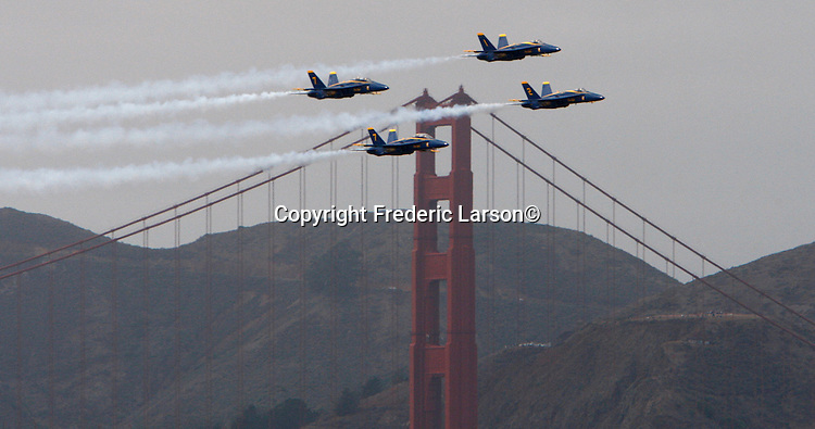 The U.S. Navy's precision flight demonstration team, the Blue Angels, practice over the San Francisco Bay as seen from Marina Greens.