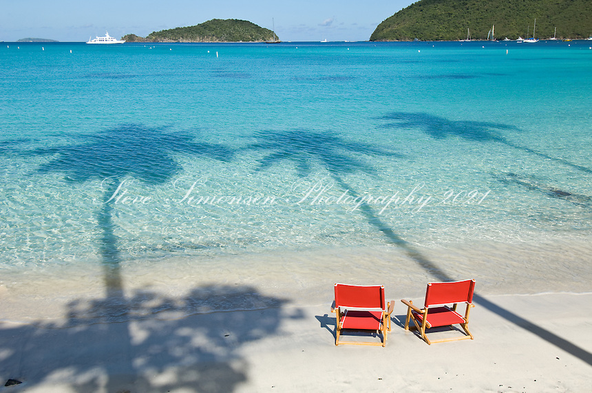 Red Beach Chairs at Maho Bay.Virgin Islands National Park.St John, US Virgin Islands