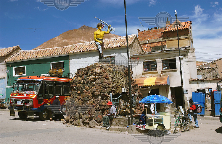A statue to a silver miner in the Miners' Plaza in front of the Cerro Rico mountain.Photo: Dermot Tatlow/Panos Pictures/Felix Features