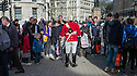 London, UK. 11.04.2015. A crowd of tourists look at a Guardsman, Horseguards Parade, Whitehall, London, UK. Photograph © Jane Hobson.