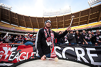 A D.C. United fan plays the drum while helping to lead a chant before the game at RFK Stadium in Washington,DC. D.C. United tied the Houston Dynamo, 1-1.  With the tie, Houston won the Eastern Conference and advanced to the MLS Cup.
