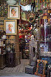 Shops in the Tunis Medina (old city) display handicrafts and other souvenirs for tourists.