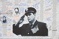 Messages and remembrances of 9/11 posted on Greenwich Street near the entrance to the National September 11 Memorial.