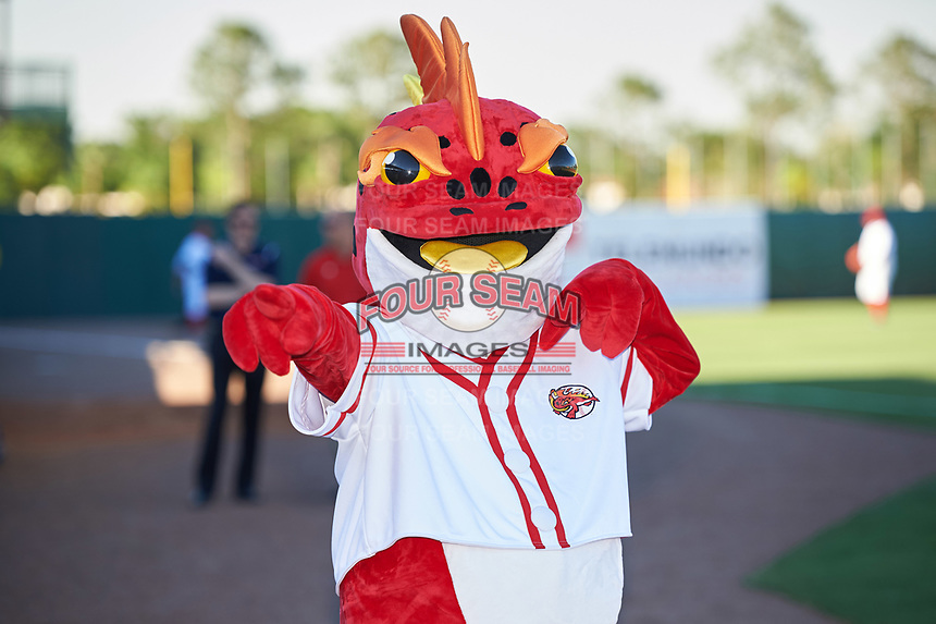 Florida Fire Frogs mascot Striker poses for photos before the teams inaugural game against the Daytona Tortugas on April 6, 2017 at Osceola County Stadium in Kissimmee, Florida.  Daytona defeated Florida 3-1.  (Mike Janes/Four Seam Images)