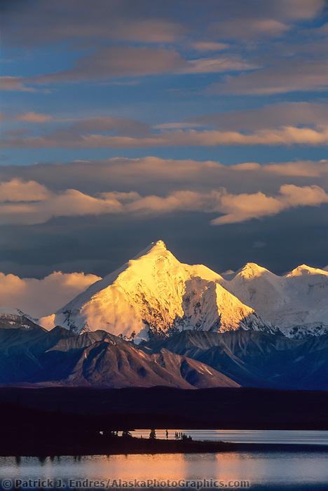 Sunset on Mount Brooks, Wonder Lake, Alaska range, Denali National Park, Alaska