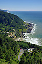 View of Oregon coast from lookout at top of Cape Perpetua; USFS Visitor Center and Highway 101.