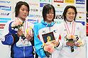 (L to R) Miho Takahashi (JPN), Miyu Otsuka (JPN), Maiko Fujino (JPN), APRIL 2, 2012 - Swimming : JAPAN SWIM 2012 Women's 400m Individual Medley Victory Ceremony at Tatsumi International Swimming Pool, Tokyo, Japan. (Photo by Yusuke Nakanishi/AFLO SPORT) [1090]