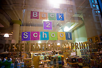 Back to school supplies are advertised in the window of an art supply store in the Chelsea neighborhood of New York on Thursday, August 26, 2010. The back to school shopping season is the second busiest time for retailers after Christmas. (© Richard B. Levine)