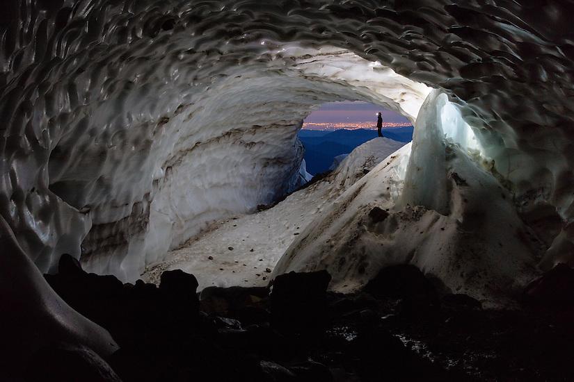 Exploring the Snow Dragon glacier cave on Mt Hood.