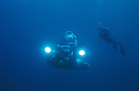 Deep Worker Submersible and a Scuba Diver