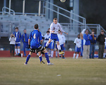 Oxford's Noland Palmer (3) vs. Saltillo in boys high school soccer action at Oxford High School in Oxford, Miss. on Thursday, January 27, 2011.