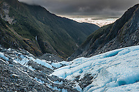 Looking into valley across crevasses on Franz Josef Glacier near sunset, Westland National Park, West Coast, World Heritage Area, South Westland, New Zealand