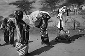 Somali refugees are seen carrying ration and other supplies outside the Dagahaley refugee camp in the Dadaab refugee camp in northeastern Kenya. Hundreds of thousands of refugees are fleeing lands in Somalia due to severe drought and arriving in what has become the world's largest refugee camp. Photo: Sanjit Das/Panos