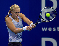 Sabine Lisicki (Ger) against Yaroslava Shvedova (ROM) in the Group B match between Germany and Romania. Shvedova (ROM) beat Lisicki (GER) 6-4 7-6..International Tennis - Hyundai Hopman Cup XXII - Fri 08 Jan 2010 - Burswood Dome - Perth - Australia ..© Frey - AMN Images, 1st Floor Barry House, 20-22 Worple Road, London, SW19 4DH