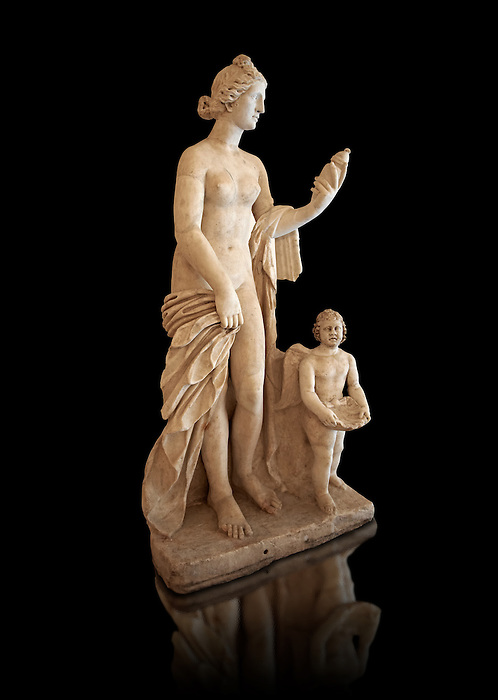 Roman marble sculpture of Aphrodite (Venus) of the Venus Felix Type , copied from a  2nd to 1st century BC Hellanistic Greek original, inv 6300, Naples Museum of Archaeology, Italy