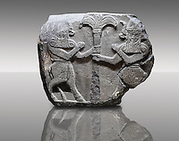 Picture & image of a Neo-Hittite orthostat with a releif sculpture of Bull Men from The legend of Gilgamesh , Karkamis, Turkey. Museum of Anatolian Civilisations, Ankara.