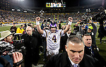 Minnesota Vikings' Brett Favre walks off the field after beating the Vikings. .The Green Bay Packers hosted the Minnesota Vikings at Lambeau Field Sunday November 1, 2009. Steve Apps-State Journal.1
