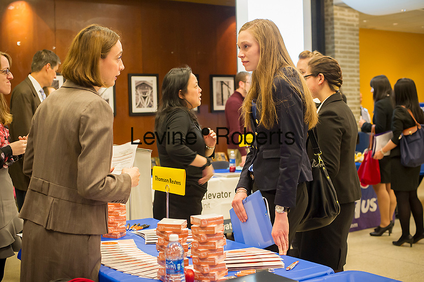 Job seekers attend an internship and job fair at Pace University in New York on Thursday, April 25, 2013.  The US Labor Department reports new claims for unemployment benefits for last week decreased to a seasonally adjusted 339,000. ( © Frances M. Roberts)